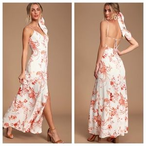Lulu's White & Orange Floral Open Back Maxi Dress